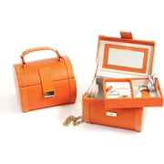 Bey-Berk Leather Jewelry  Case, Orange