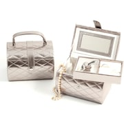 Bey-Berk Leather Sweet  16 Jewelry Box, Silver Plated