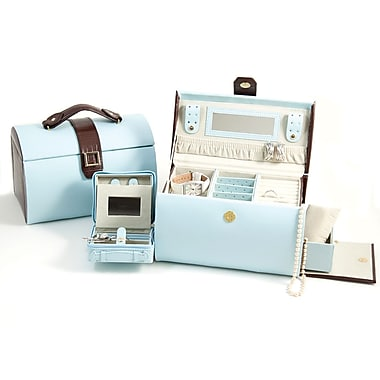 Bey-Berk BB557 Brown Croco Leather Jewelry Box, Blue