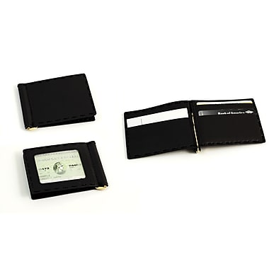 Bey-Berk Black Leather Wallet and Money Clip With ID Window