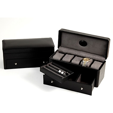 Bey-Berk Croco Leather  5 Watch Box, Black