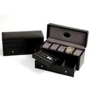 Bey-Berk Croco Leather  5 Watch Box, Black