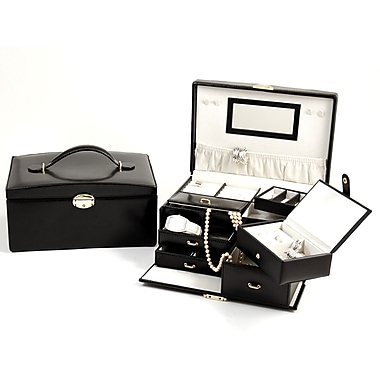 Bey-Berk Leather 2  Level Jewelry Box, Black