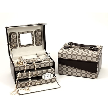 Bey-Berk Leather and  Cloth Material 3 Level Jewelry Case, Two-Tone Brown