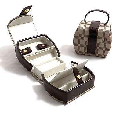 Bey-Berk Leather and  Cloth Jewelry Box With 2 Compartment, Two-Tone Brown