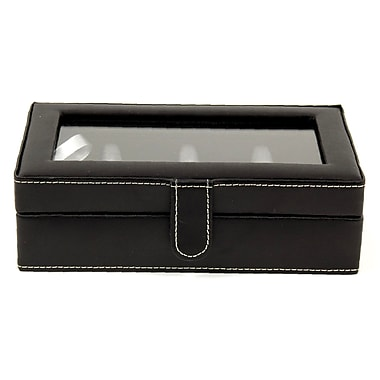 Bey-Berk Leather 12 Cufflink Box, Black