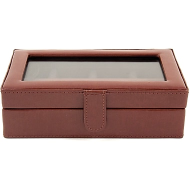 Bey-Berk Leather 12  Cufflink Box, Brown