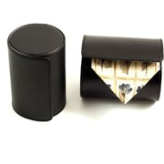 Bey-Berk Leather Single  Travel Tie Case With Snap Closure, Black