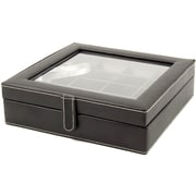 Bey-Berk Leather 20  Cufflink Box, Black