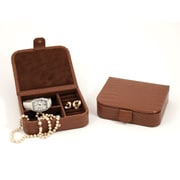 Bey-Berk Croco Leather  Jewelry Case, Brown