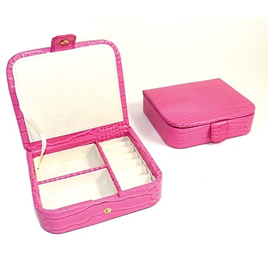Bey-Berk Croco Leather Jewelry Case, Pink