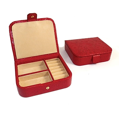 Bey-Berk Flower Leather  Jewelry Case, Red