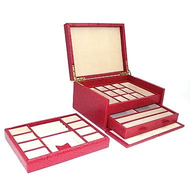 Bey-Berk Flower Leather  Jewelry Box, Red