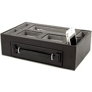 Bey-Berk Leather Open  Face Valet Box With Drawer For 2 Pens and 2 Watches, Black