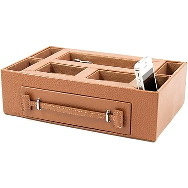 Bey-Berk Leather Open  Face Valet Box With Drawer For 2 Pens and 2 Watches, Tan