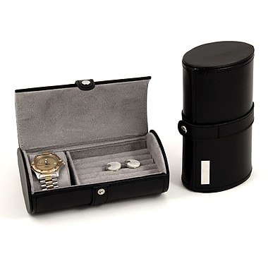 Bey-Berk Leather Watch  and Cufflink Travel Case With Snap Closure, Black