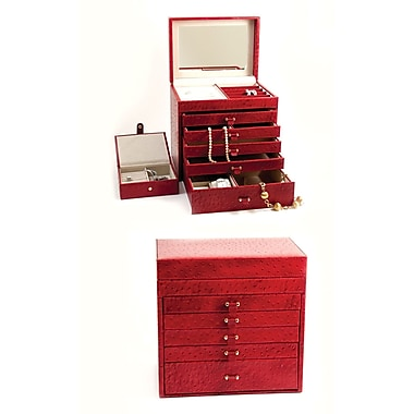 Bey-Berk Ostrich Leather  Jewelry Chest, Red