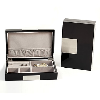 Bey-Berk Lacquered Black  Wood Valet Box With Stainless Steel Accents and Multi Compartments
