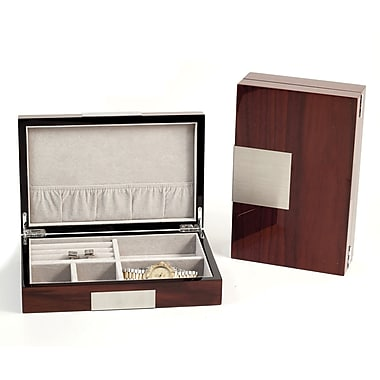 Bey-Berk Lacquered Burl  Wood Valet Box With Multi Compartments, Brown