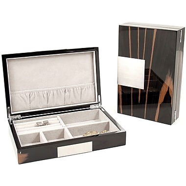 Bey-Berk Lacquered Burl  Wood Valet Box With Multi Compartments, Ebony