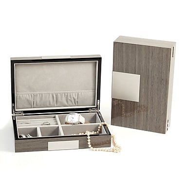 Bey-Berk Lacquered Burl  Wood Valet Box With Multi Compartments, Gray