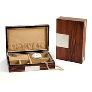 Bey-Berk Lacquered Burl  Wood Valet Box With Multi Compartments, Natural