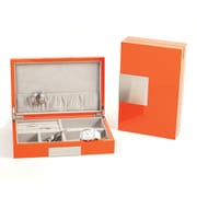 Bey-Berk Lacquered Burl  Wood Valet Box With Multi Compartments, Orange