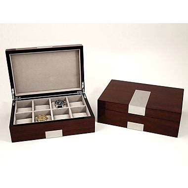 Bey-Berk Lacquered Walnut  Wood 8 Watch Box