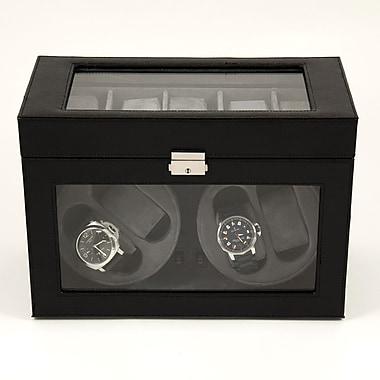 Bey-Berk Leather 4  Watch Winder and 5 Watch Storage Case, Black