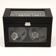 Bey-Berk Leather 4  Watch Winder and 5 Watch Storage Case, Black
