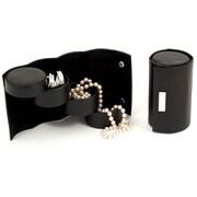 Bey-Berk Leather 3  Level Jewelry Roll, Black