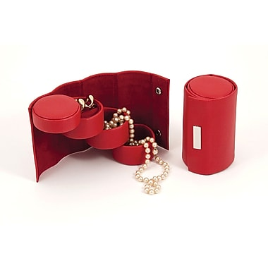 Bey-Berk Leather 3  Level Jewelry Roll, Red