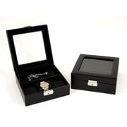 Bey-Berk Leather Watch  and Accessory Case, Black