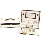 Bey-Berk Brown Leather  Jewelry Box With Multi Compartment, Ivory
