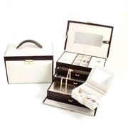 Bey-Berk Brown Leather  4 Level Jewelry Box, Ivory