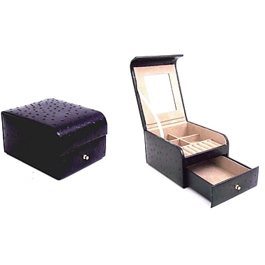 Bey-Berk Ostrich Leather  Two Level Jewelry Case, Black