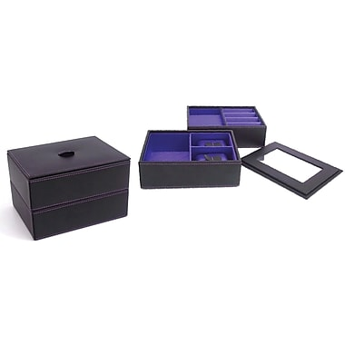 Bey-Berk Leather Stacked  Jewelry Box, Black