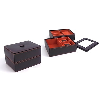 Bey-Berk Leather Stacked  Jewelry Box, Brown