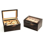 Bey-Berk Lacquered Ebony  Burl Wood 2 Watch Winder,