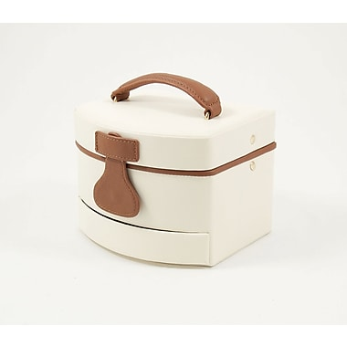 Bey-Berk Leather 3  Level Jewelry Box, Ivory