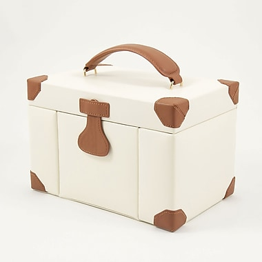 Bey-Berk Leather 4  Level Jewelry Box With Multi Compartment, Ivory