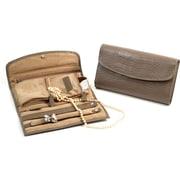 Bey-Berk Croco Leather  Multi Compartment Jewelry Clutch, Grey