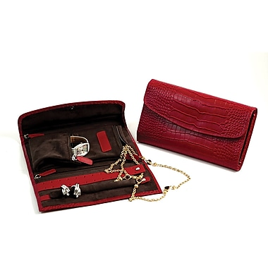 Bey-Berk Croco Leather Multi Compartment Jewelry Clutch, Red