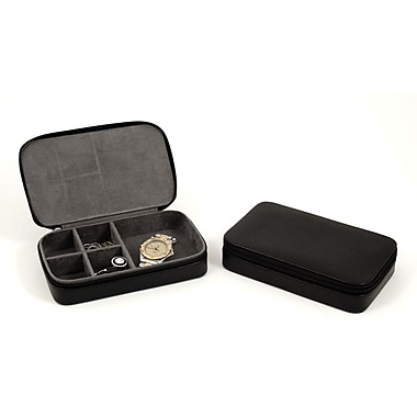 Bey-Berk BB631 Leather Multi Compartment Jewelry Boxes With Zippered Closure
