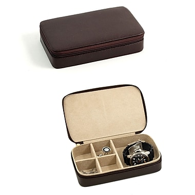 Bey-Berk Leather Multi Compartment Jewelry Box With Zippered Closure, Brown