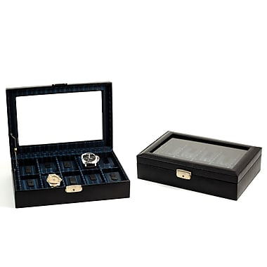 Bey-Berk Leather 10 Watch Case, Black