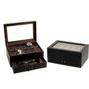 Bey-Berk Black Leather  10 Watch Case With Glass Top, Drawer For Cufflinks