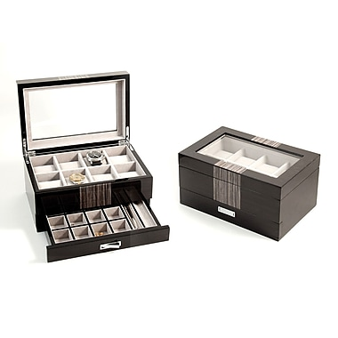 Bey-Berk Lacquered Wenge Wood 8 Watch Box With Glass Top and Drawer