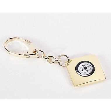 Bey-Berk Key Ring  With Compass, Gold Plated