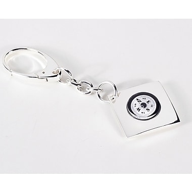 Bey-Berk Key Ring  With Compass, Silver Plated